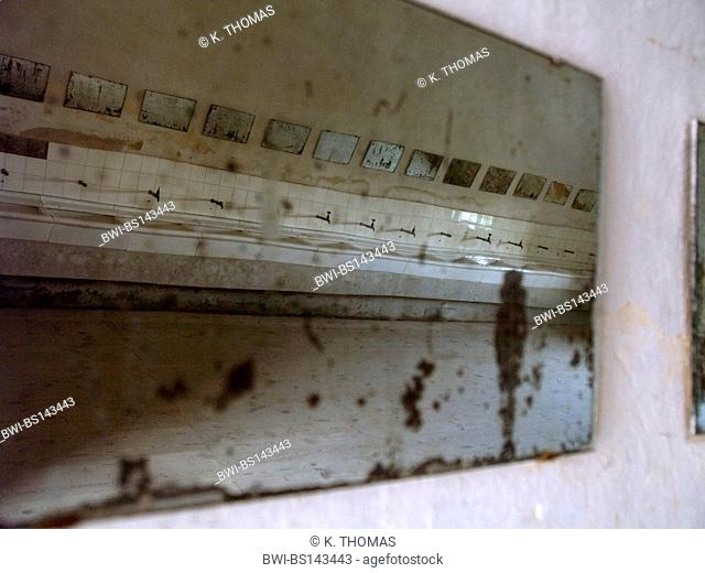 memorial concentration camp Theresienstadt, mirror image of a lavatory, Czech Republic, Terezin