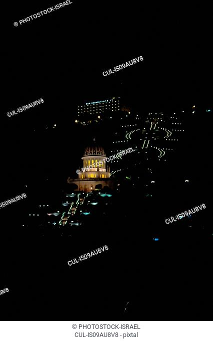 High angle view of Bhai temple at night, Haifa, Israel