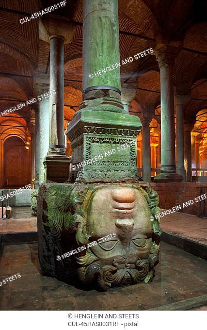 The byzantine Basilica Cistern, carved Medusa head, Istanbul, Turkey
