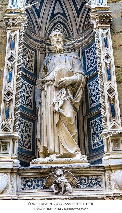 Saint Mark Statue Orsanmichele Church Florence Italy. Statue by Donatello 1411