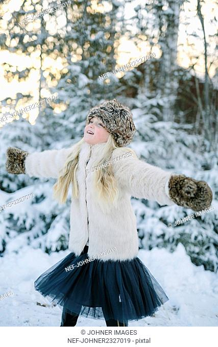 Happy girl at winter