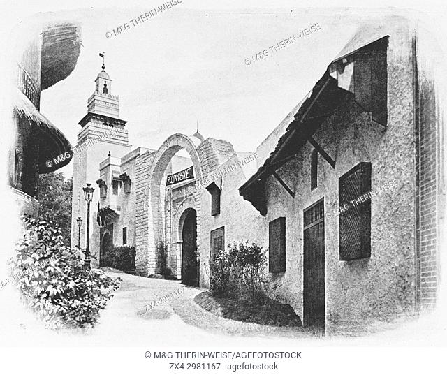 Tunisian Pavilion, : Bab Jedid gate of Tunis and Sfax Minaret, Universal Exhibition 1900 in Paris, Picture from the French weekly newspaper l'Illustration