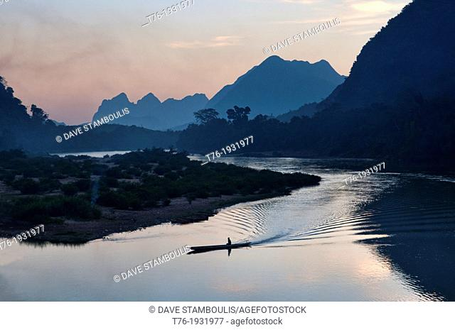 sunset on the Nam Ou River in Muang Ngoi, Laos