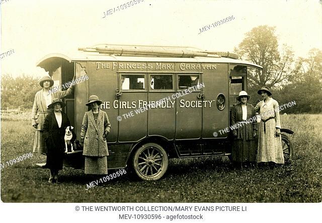 Frenchay 'Girls Friendly Society' Motor-Caravan the Princess Mary, Frenchay, Bristol, near Fishponds, Bristol County, England. Seen here at Guiseley