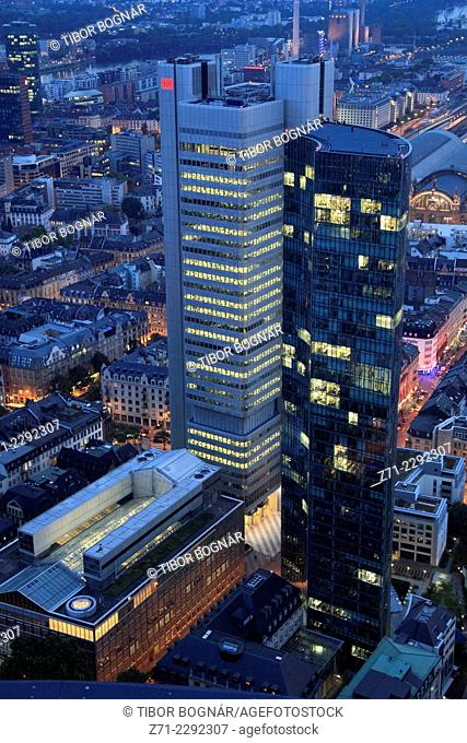 Germany, Hessen, Frankfurt am Main, business district, aerial view