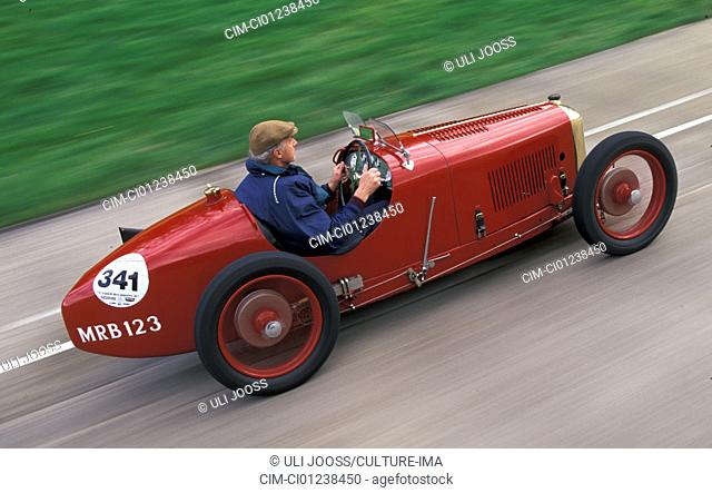 Car, Amilcar C 6, model year 1927-1930, vintage car, 1920s, twenties 1930s, thirties, driving, diagonal back, back view, side view, circuit, racetrack