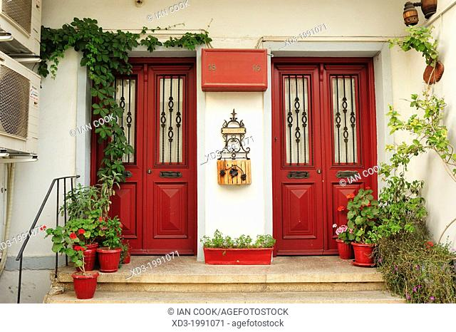 Red doors, Bozcaada, Turkey