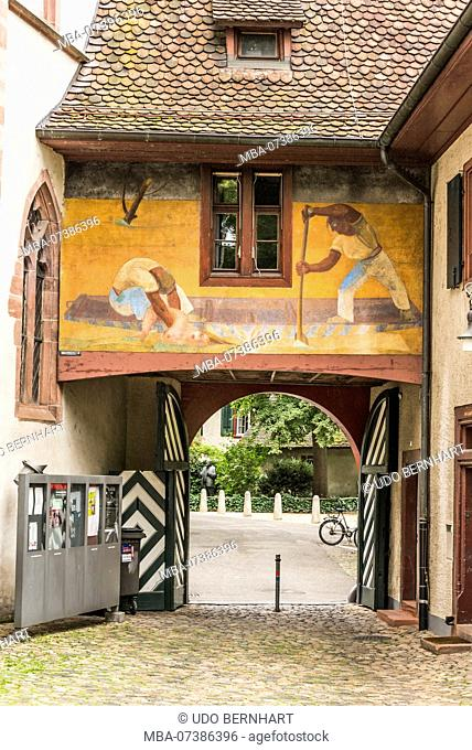 Entrance gate to the alley Spalenberg, old town Grossbasel, Basel, Canton Basel-Stadt, Switzerland