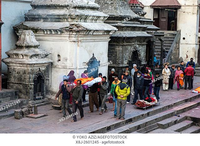 Nepal, Kathmandu, Pashupatinath, cremation funeral
