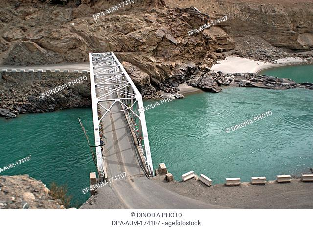 Bridge on indus river connecting leh kargil road ; Ladakh ; Jammu and Kashmir ; India 9- April-2008