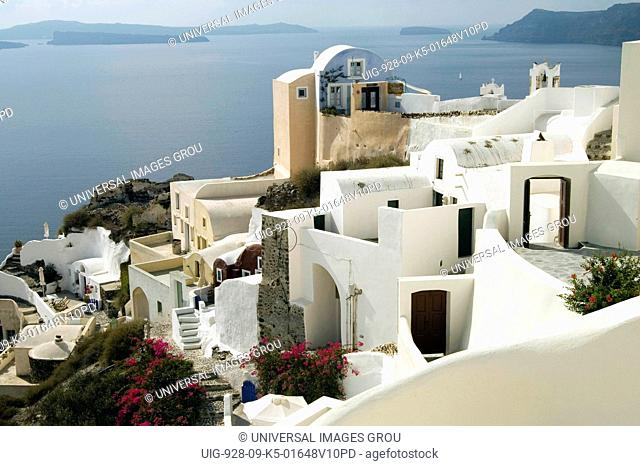 Greece, Santorini, Ia, Houses Overlooking Sea