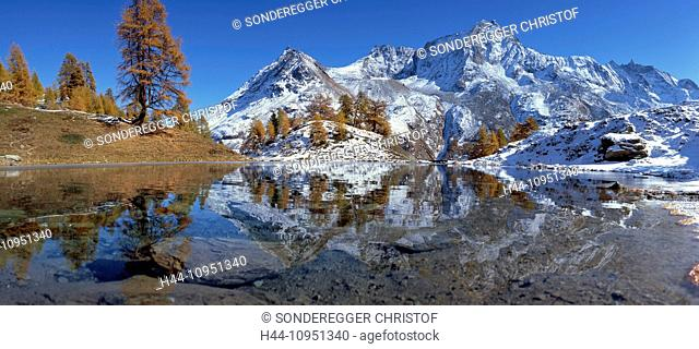 Switzerland, Europe, tree, trees, mountain, mountains, mountain lake, lake, autumn, canton, Valais, panorama, Val d'Arolla, Lac blue