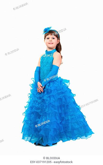 The young beautiful girl in an evening dress of princess