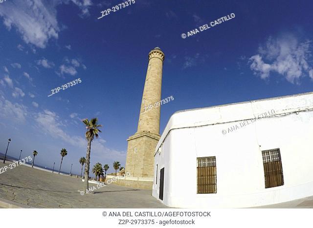 Chipiona lighthouse and beach in Cadiz province, Spain