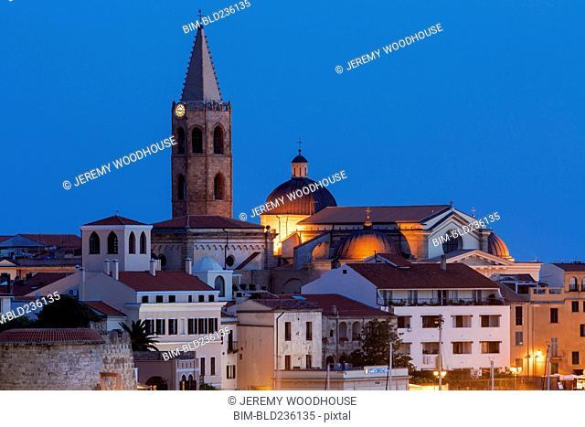 Illuminated cityscape at night, Alghero, Provincia di Sassari, Italy