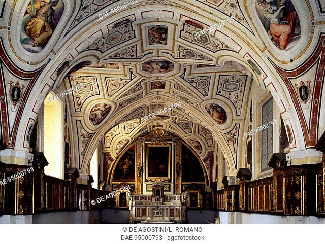 Sacristy of Vasari, ceiling frescoes by Giorgio Vasari (1511-1574) and wooden inlays by Giovanni da Verona (1457-1525), Church of St Anne of the Lombards