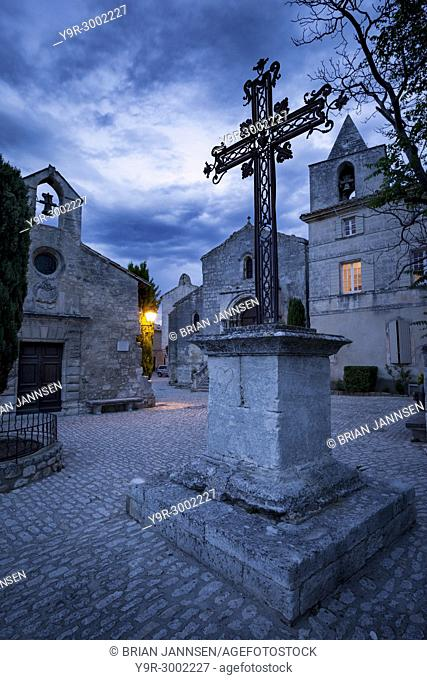 Wrought Iron cross at Place de Saint Vincent, Les Baux de-Provence, France