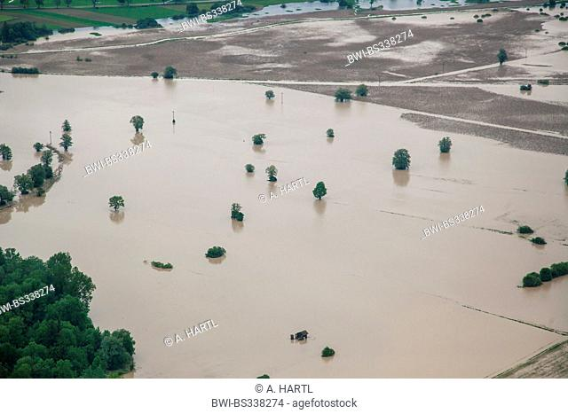 nature reserve Grabenstaetter Moos at lake Chiemsee flooded in June 2013, Germany, Bavaria, Lake Chiemsee