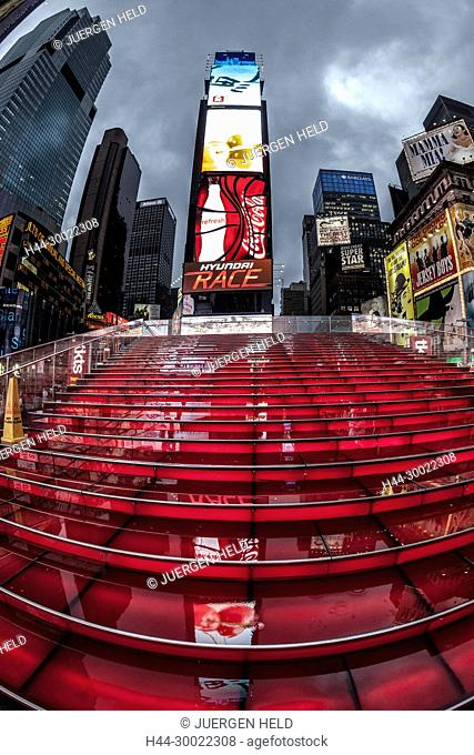 Times Square at twilight on a rainy day in New York