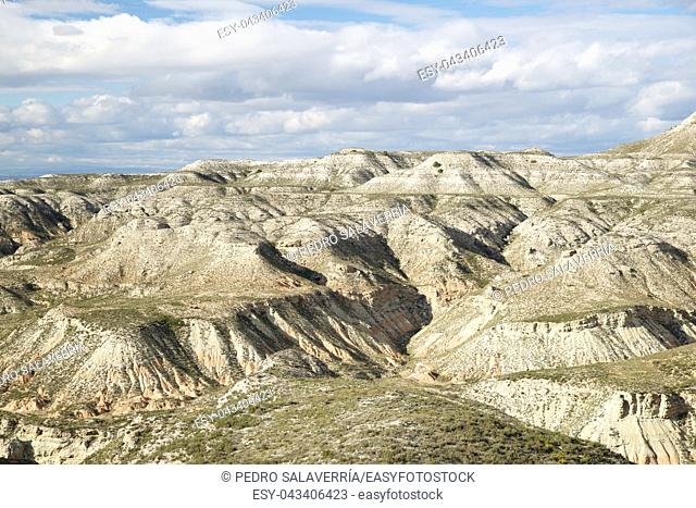Arid landscape in Zaragoza Province, Aragon, Spain
