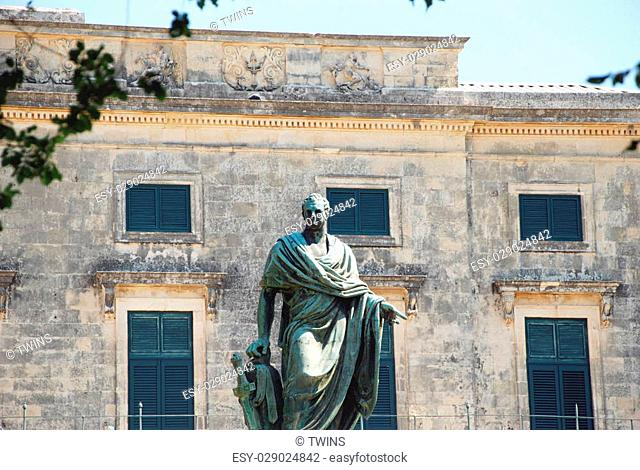 Frederick Adam statue near Palace of Saints Michael and George, Kerkyra, Corfu island, Greece