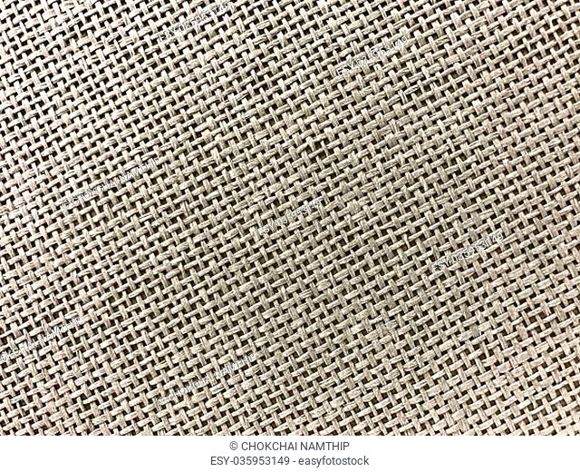 Striped linen sack texture background in brown in close up