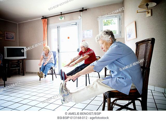 Reportage in a retirement home in Marly-le-Roi in France. Weekly gym lessons for residents