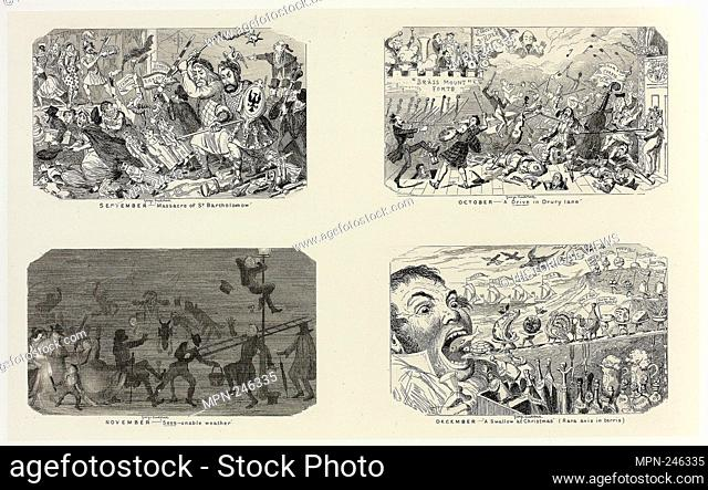 "September - """"Massacre of St. Bartholomew"""" from George Cruikshank's Steel Etchings to The Comic Almanacks: 1835-1853 (top left) - 1841, printed c"
