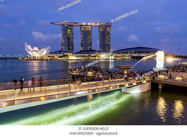Marina Bay, Merlion, Marina Bay Sands Hotel, Pier, Singapore, Singapur, Southest Asia