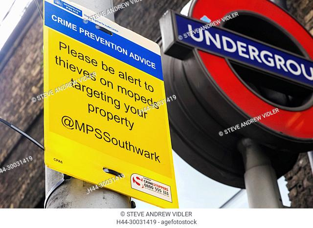 England, London, Southwark, Crime Prevention Advice Sign