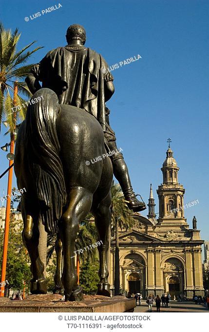 Historical monument of Plaza de Armas in Santiago city Chile