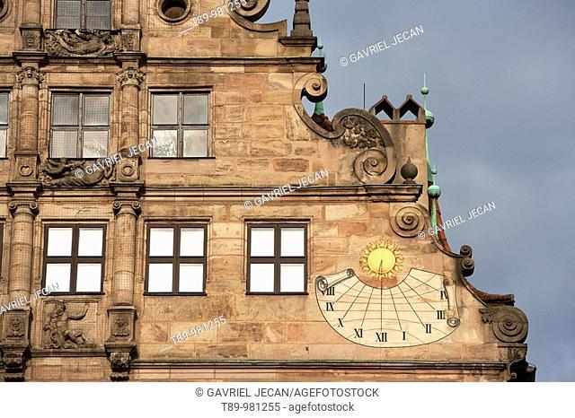 Germany, Nurnberg, Solar Clock in Central square