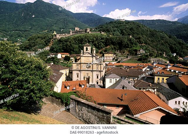View of the historic centre with St Peter and Stephen Parish Church, Bellinzona, Ticino, Switzerland