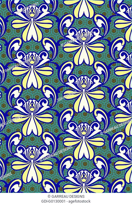 Repeating African daisy design
