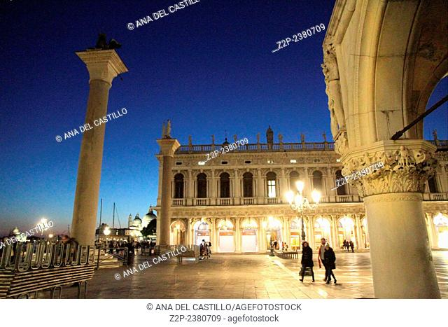 Saint Marks square by night Venice Italy