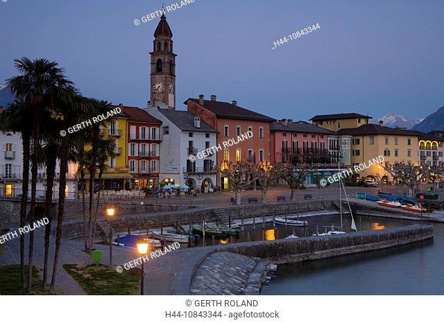 Switzerland, Europe, Ascona, Canton Ticino, Spring, Springtime, Church, Scenic, scenery, landscape, Dusk, Evening, Pro