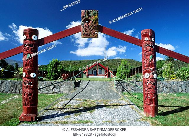 Entrance gate to a Marae-meeting place of the Maoris, South Island, New Zealand
