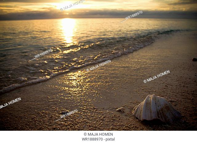 Sunset over beach scenery, Borneo, Lankayan Island, Malaysia