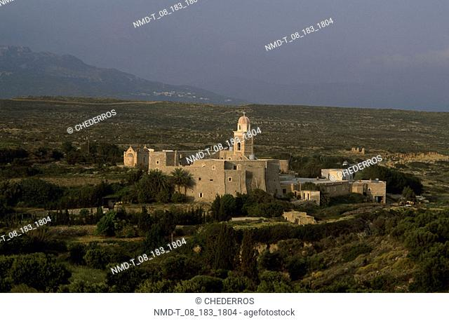 High angle view of a church on a landscape, Crete, Greece