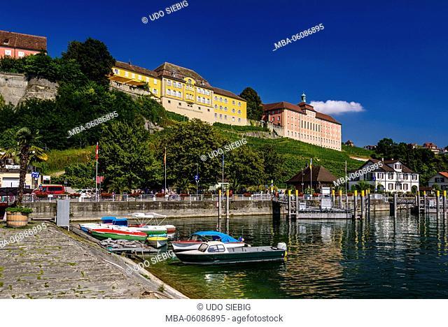 Germany, Baden-Wurttemberg, Lake Constance, Meersburg, harbor with Staatsweingut