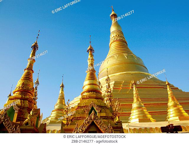 The Shwedagon Pagoda, called the Great Dagon Pagoda or the Golden Pagoda, is a 99 metres gilded pagoda and stupa located in Yangon