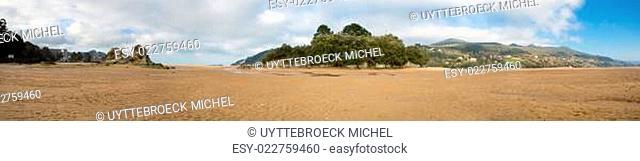 Panorama of the beach in Mundaka