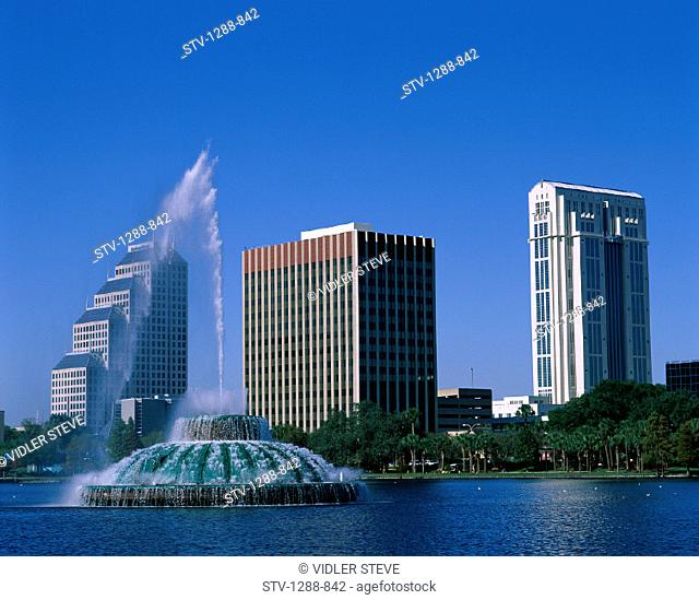 America, Buildings, City, Eola, Florida, Fountain, Holiday, Lake, Lake eola, Landmark, Orlando, Skyline, Skyscrapers, Tourism, T