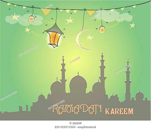 Creative greeting card design for holy month of muslim community festival Ramadan Kareem with moon and hanging lantern and stars on green background