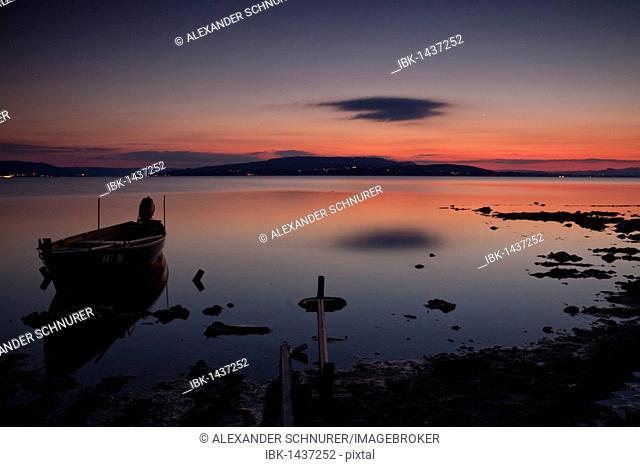 Fishing boat on Reichenau island, sunset, looking towards Hoeri, Lake Constance, Baden-Wuerttemberg, Germany, Europe