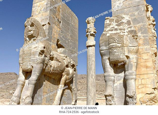 Bulls of the Gate of All the Nations, Persepolis site, Persepolis, Iran, Middle East