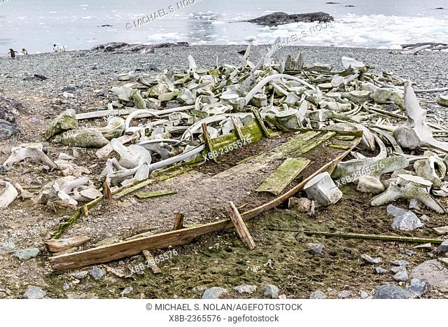 Remains of an abandoned shore based whaling station in Mikkelsen Harbor on the western side of the Antarctic Peninsula, Antarctica