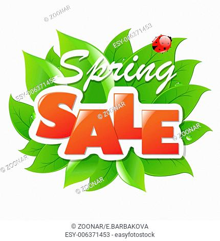 Spring Sale Poster With Leaf