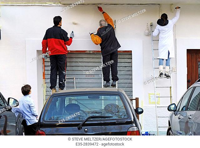 Painting a pharmacy storefront