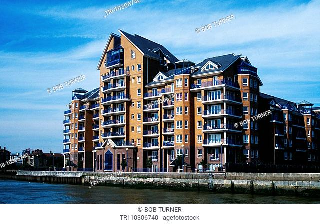 East London England Docklands From River Newly Constructed Flats